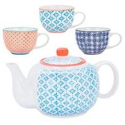 Nicola Spring Hand Printed Teapot and Cups Set