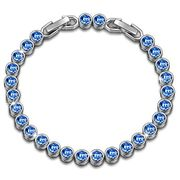 Crystal Aquamarine Tennis Bracelet with Extender Best Choice for Women