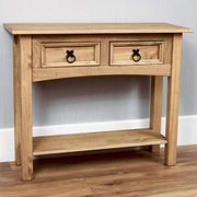 Corona Console Table, 2 Drawer with Shelf, Solid Pine Wood