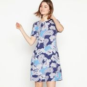 The Collection - Blue Paisley Jersey Knee Length Swing Dress