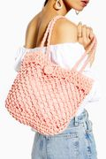 FIZZLE Pink Straw Tote Bag Down From £22 to £10