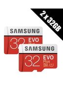 2 X Samsung Memory Evo plus 32GB Micro SDHC Card 95MB/s Class 10 with Adapter