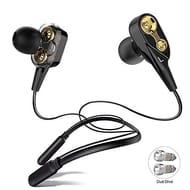 ALWUP Bluetooth Headphones, Wireless Neckband Earphones Double Drivers