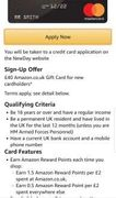 £40 Gift Card When Signing up for an Amazon Platinum Card