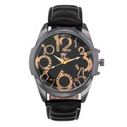 Faux Leather Strap round Dial Wrist Watch