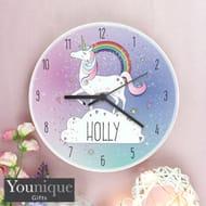Personalised Unicorn Wooden Clock