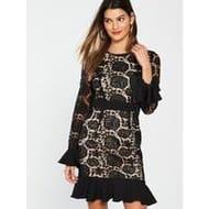 Fluted Sleeve and Hem Lace Dress - Black 8-14