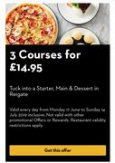 Pizza Express 3 Courses for £14.95