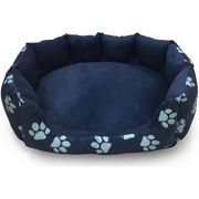 Paw Print Oval Navy Pet Bed - Large