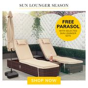 FREE Parasol & Base if You Buy a Lounger from Our Selected Range.