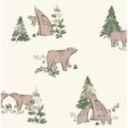 Wilko Wallpaper Bear Family Cream and Brown