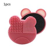 Pink Bear Shape Makeup Brush Cleaner 2 in 1 Silicone Cosmetic Brush Cleaning Mat