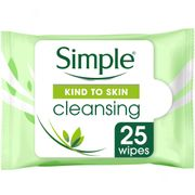 Simple Kind to Skin Cleansing Facial Wipes 25'S - HALF PRICE