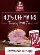 40% off Main Meals Tuesday 25th At Toby Carvery