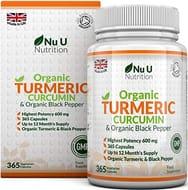 Nu U Nutrition Organic Turmeric Curcumin 600mg