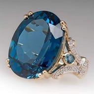 Blue Diamond Ring Free P&p