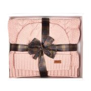 Barbour Ladies Cable Hat and Scarf Set - Pink