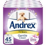 Andrex Gentle Clean Toilet Tissue, 45 Rolls