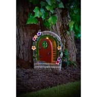 Solar Resin Fairy Door - Red