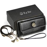 RESO Genuine/Real Leather Purse for Women, RFID Blocking Ladies Wallet