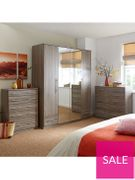 Cologne 2-Door, 1-Drawer Mirrored Wardrobe 3 Colours - Save £20