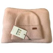 Barbour Ladies Supersoft Knit Wrap and Beanie Set - Pink