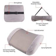 """""HALF PRICE """""" 3D Memory Lumbar Cushion Ergonomic Grey Back Support Pillow"