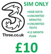 Three - SIM ONLY DEAL - 8GB Data, Unlimited Minutes & Texts