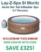 EXTRA £75 off with CODE! Lay-Z-Spa St Moritz AirJet Hot Tub (5-7 Persons)