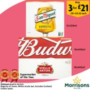 3 Boxes of Stella, Budweiser or San Miguel Beer for £21 Instead of £31.50