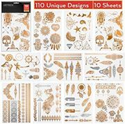 Temporary, Metallic Body Tattoos, Gold & Silver
