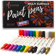 Paint Pens for Rock Painting, Stone, Ceramic, Glass, Wood. Set of 12