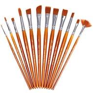 H&S 12pcs Paint Brushes Set Pro Artist Paint Brush for Acrylic Watercolor Oil