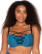 Curvy Kate Rock the Pool Padded Balconette Bikini Top Petrol Blue