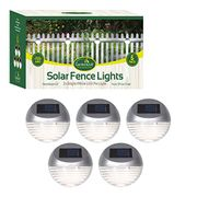 GardenKraft Pack of 5 Solar Powered LED Fence Lights Auto on Dusk to Dawn.