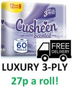 60 Rolls Luxury Cusheen Toilet Paper + FREE DELIVERY. 27p a ROLL!