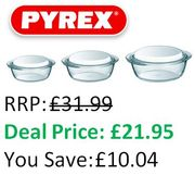 SAVE £10 at AMAZON - Pyrex Essentials - Set of 3 Glass Casserole Dishes