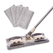 Professional Flat Floor Mops, 360 Degree Stainless Handle,and 5 Cloth Pad
