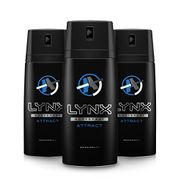 Lynx Attract Body Spray for Men, 150 Ml, Pack of 3