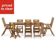 *SAVE £90* Denia Wooden 8 Seater Dining Set with 2 Recliner & 6 Standard Chairs