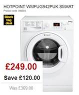 SAVE £120 - HOTPOINT SMART Washing Machine 9kg, 1400 Spin