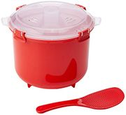 Microwave Rice Cooker, 2.6 L - Red/Clear