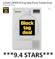 SAVE £70 - LOGIK 8kg Tumble Dryer ***9.4 STARS***