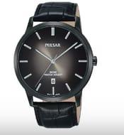 Pulsar Black Leather Strap Mens Watch