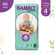 Bambo Nature Maxi Size 4 Premium Eco-Nappies - 60 Pieces per Tall Pack