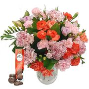 Pink Freesia & Orange Carnations Bouquet (With Free Chocolates)