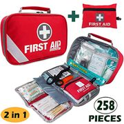 First Aid Kit (215 Piece) + Bonus 43 Piece Mini First Aid Kit