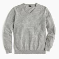 Rugged Cotton V-Neck Sweater - HTHR GREY