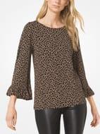 MICHAEL Michael Kors Leopard Ruffled-Cuff Top