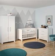Little Acorns Luxury Snow High Gloss Nursery SetWith 4inch Foam Mattress - White